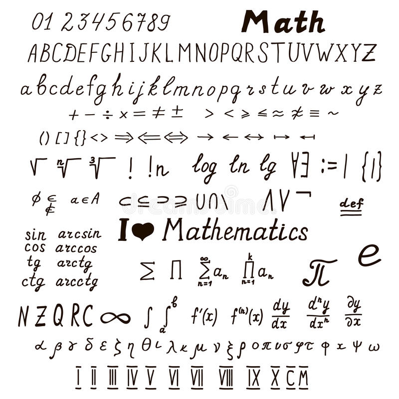 Set Of Mathematical Signs And Symbols Stock Vector Illustration Of