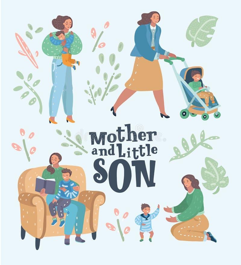 Set matka z synem w różnych sytuacjach ilustracji