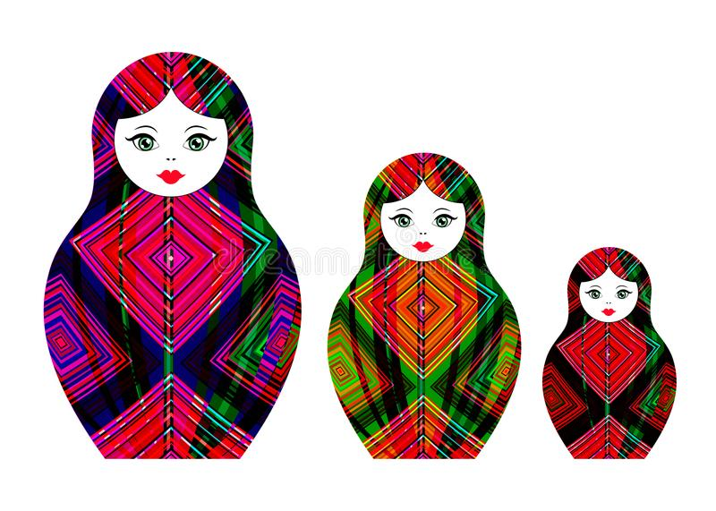 Set Matryoshka icon Russian nesting doll with geometric colorful ornament, colored with felt-tip pens, vector isolated stock illustration