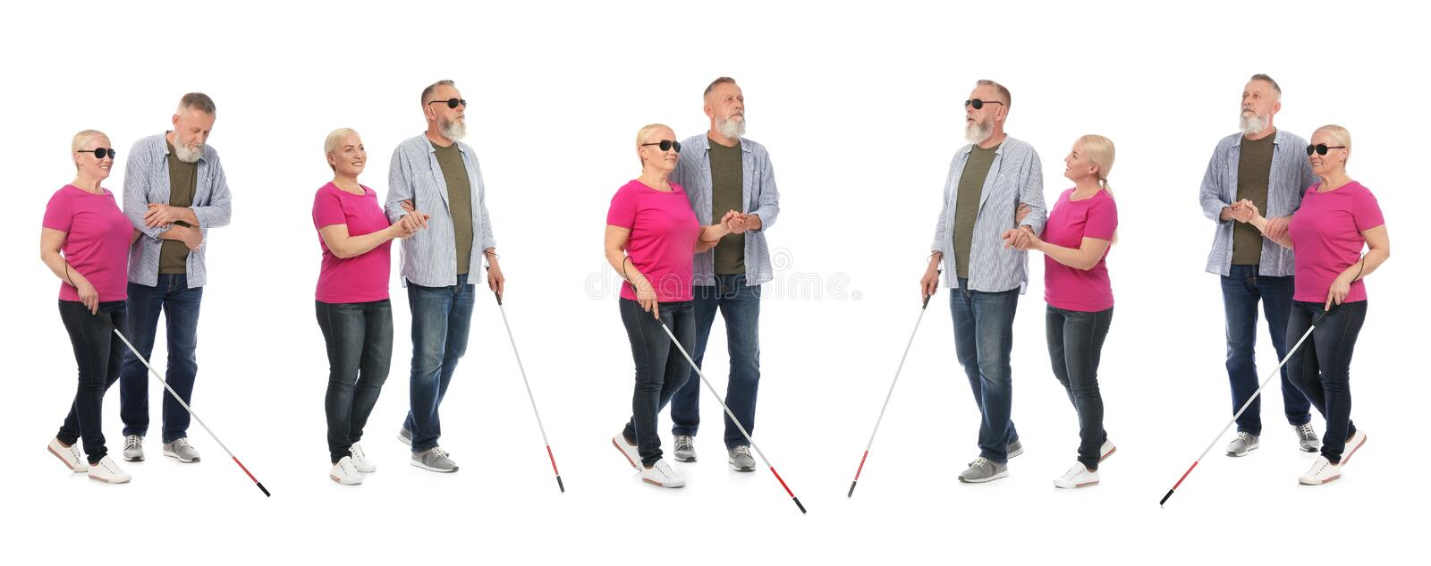Set of mature blind people with long cane walking on white royalty free stock image