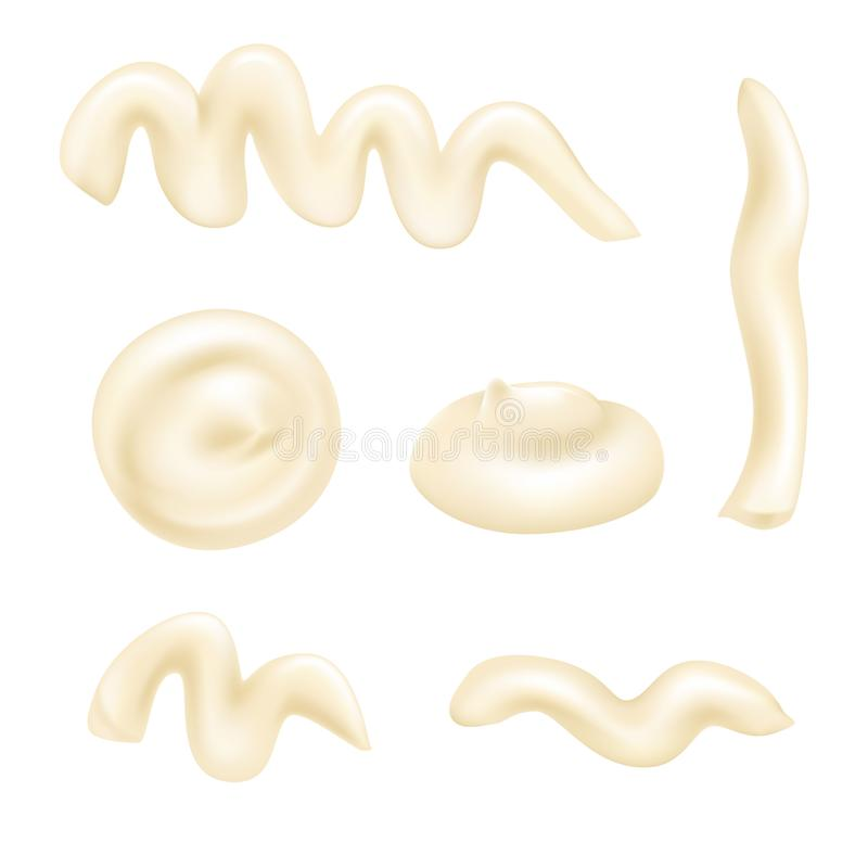 Set of white mayonnaise drops. Set of mayonnaise or yoghurt drops. Vector white sauce illustration for design. Opaque creamy dressing elements. Cream blobs stock illustration