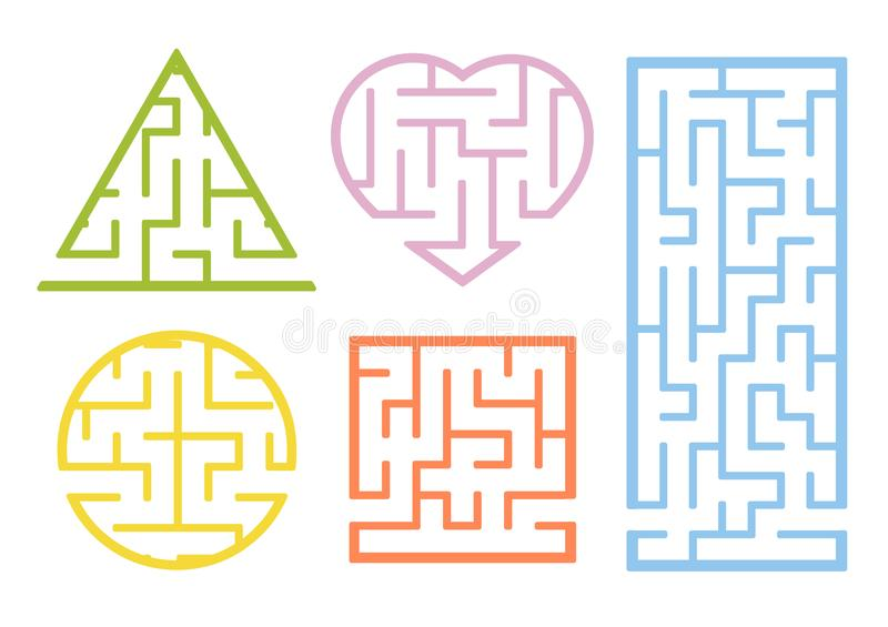 A set of mazes. Cartoon style. Visual worksheets. Activity page. Game for kids. Puzzle for children. Maze conundrum. Color vector stock illustration