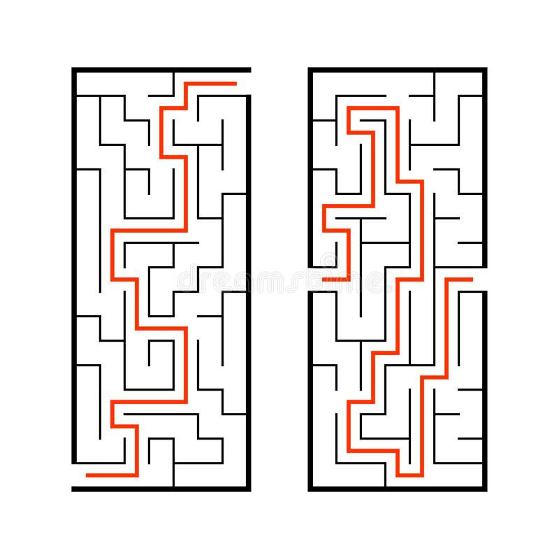 A set of mazes. Game for kids. Puzzle for children. Labyrinth conundrum. Find the right path. Vector illustration.  royalty free illustration