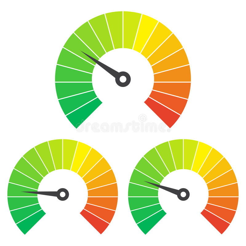 Set of measuring icons on a white background. Speedometer icons set stock illustration
