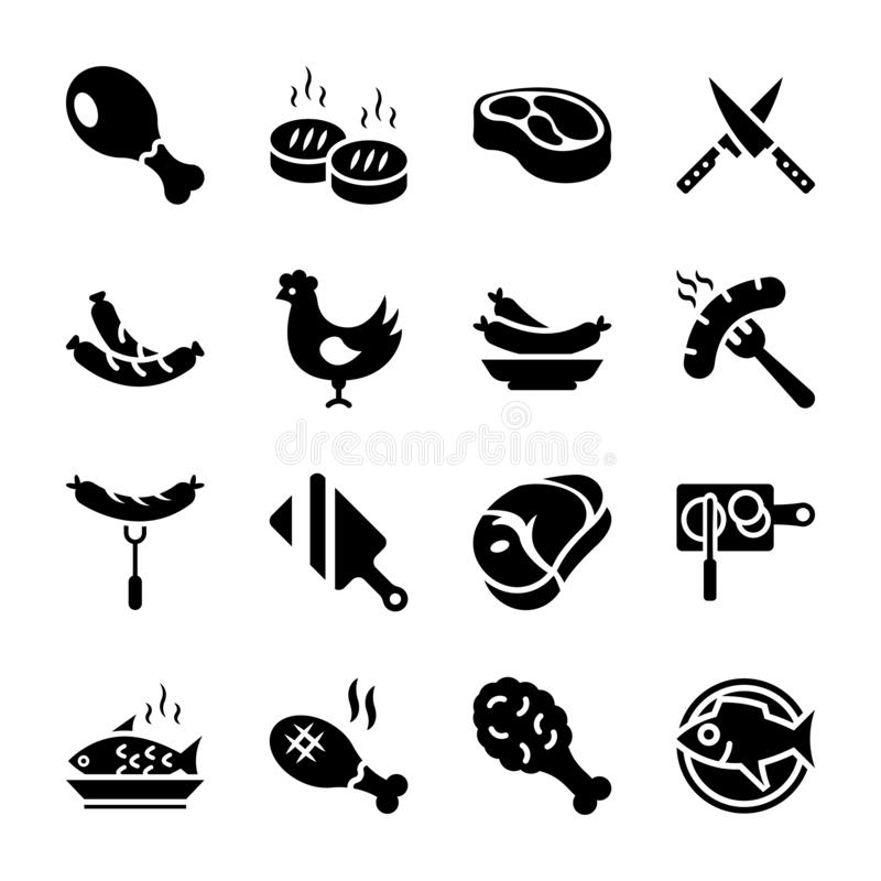 A Pack Of Meat Flat Vector Icons Stock Illustration