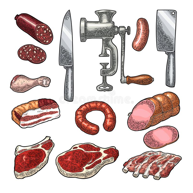 Set meat products and kitchen equipment. Vintage black vector engraving. Set meat products and kitchen equipment. Brisket, sausage, meat grinder, steak, chicken stock illustration