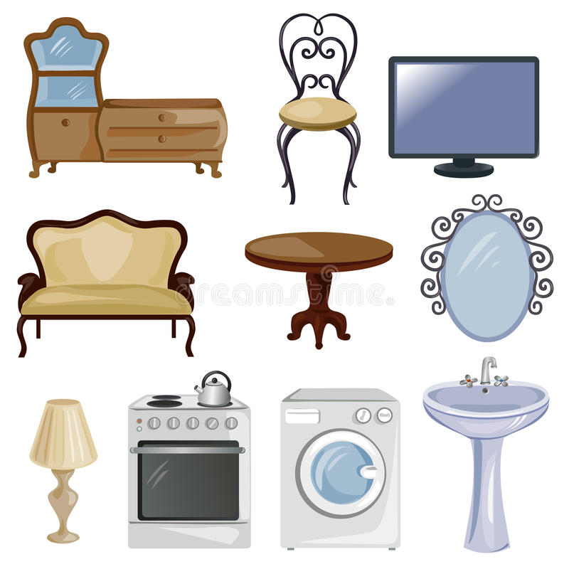 Set meblarski i wyposażenie dla domu royalty ilustracja