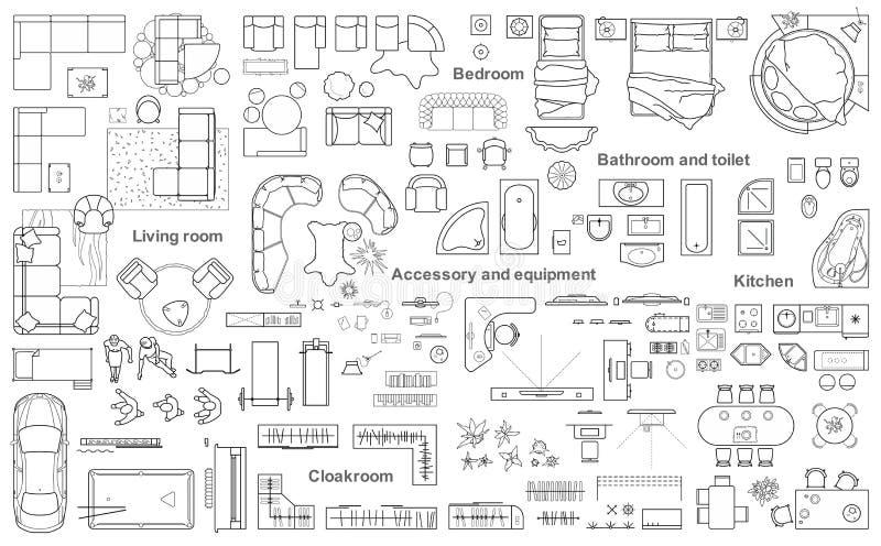 Set meblarski odgórny widok dla mieszkanie planu Układ mieszkanie projekt, techniczny rysunek Wewnętrzna ikona dla łazienek,