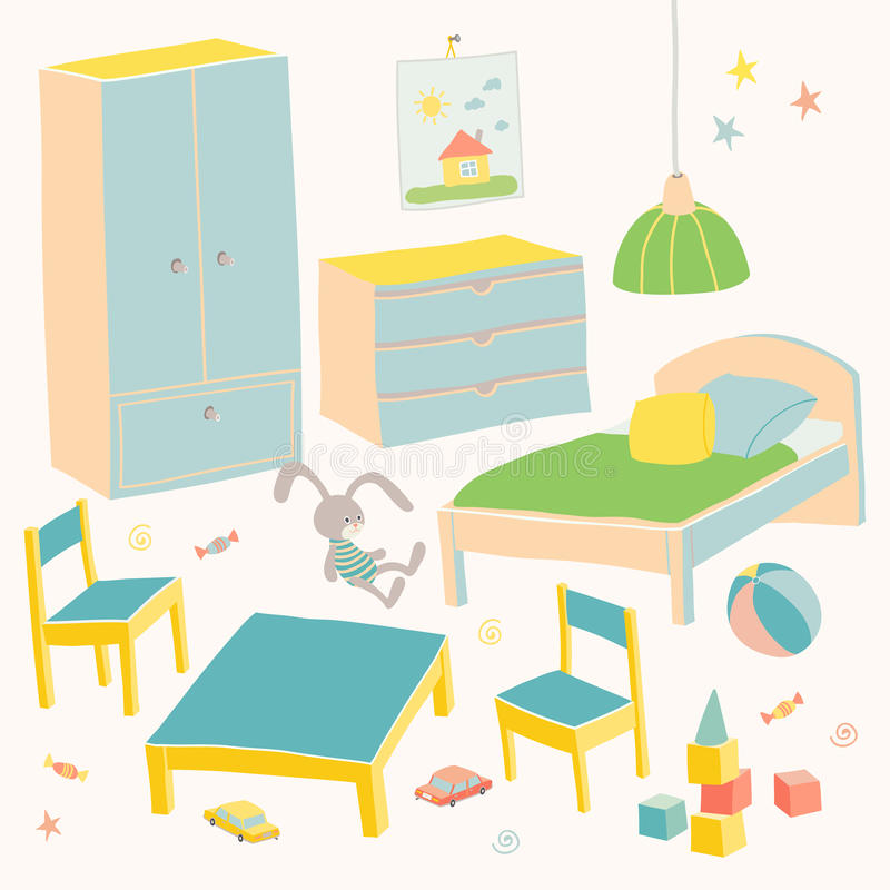 Set meble dla dziecko pokoju Żartuje małego meble dla chłopiec Łóżko, stół z krzeseł, garderoby i klatki piersiowej ręką, ilustracji