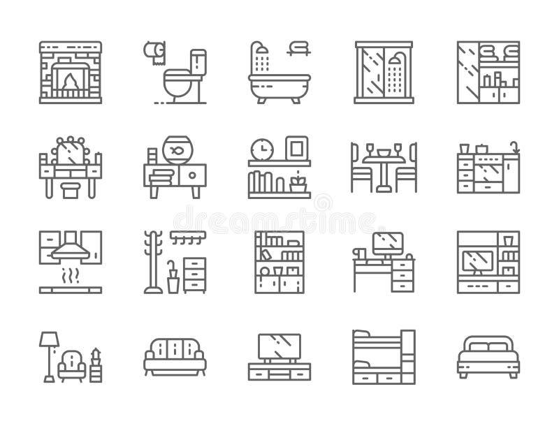 Set meble linii ikony Graba, toaleta, wanna, garderoba i więcej, ilustracja wektor