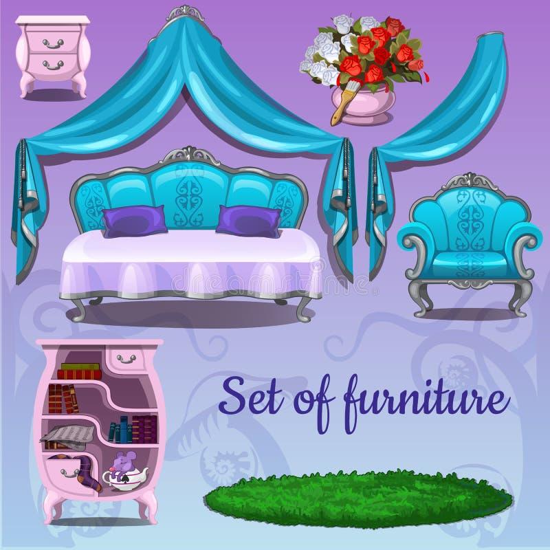 Set meble na różowym tle royalty ilustracja