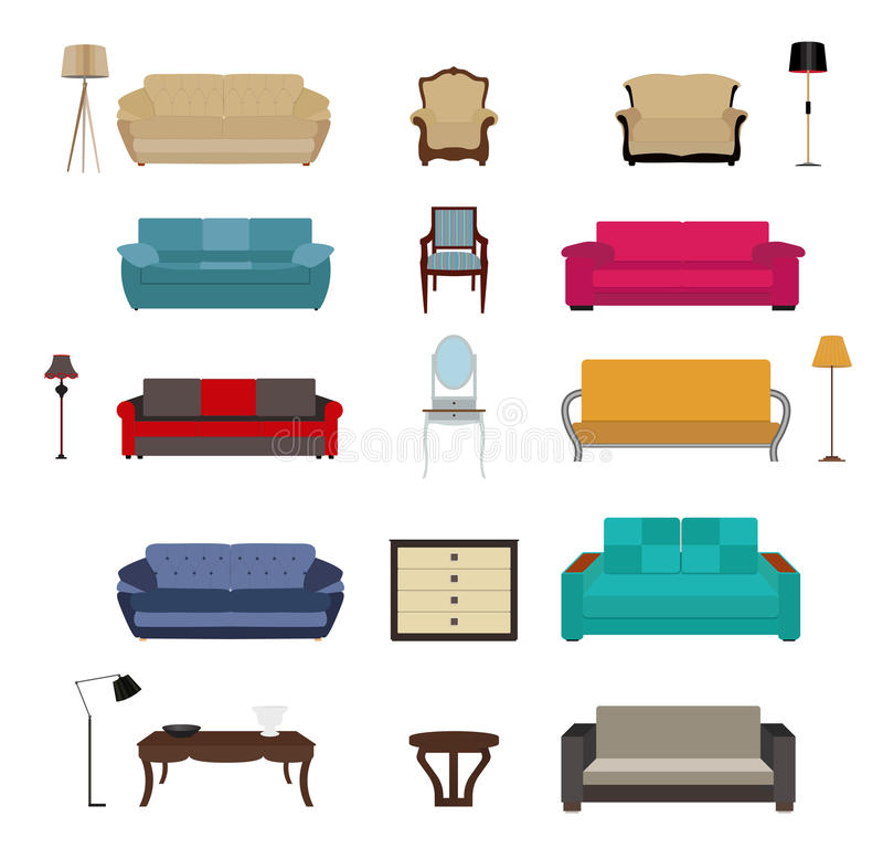 Set meble Nowożytna mieszkanie stylu wektoru ilustracja ilustracja wektor