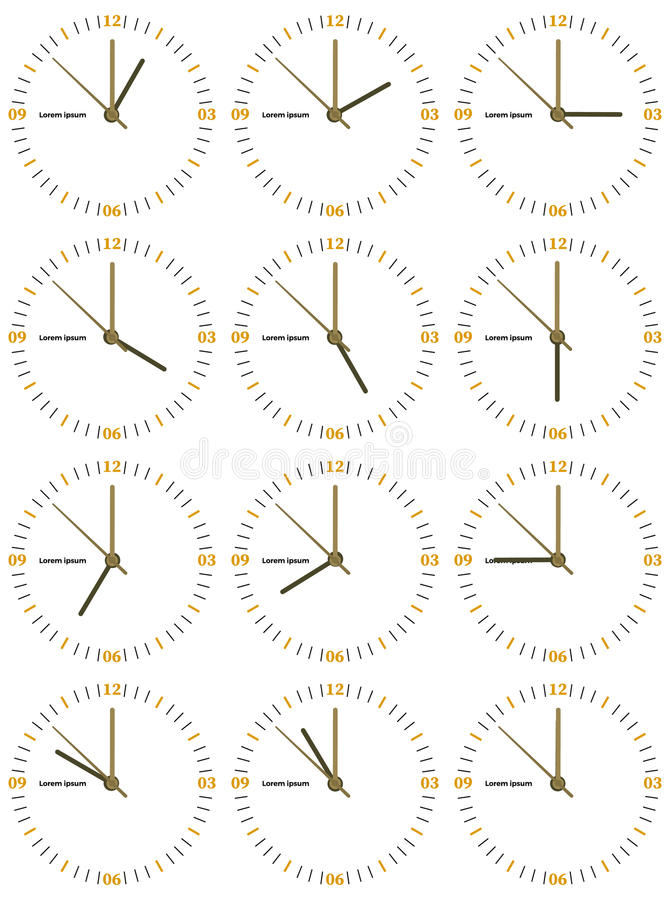 A set of mechanical clocks with an image of each of the twelve hours. Clock face on white background vector illustration