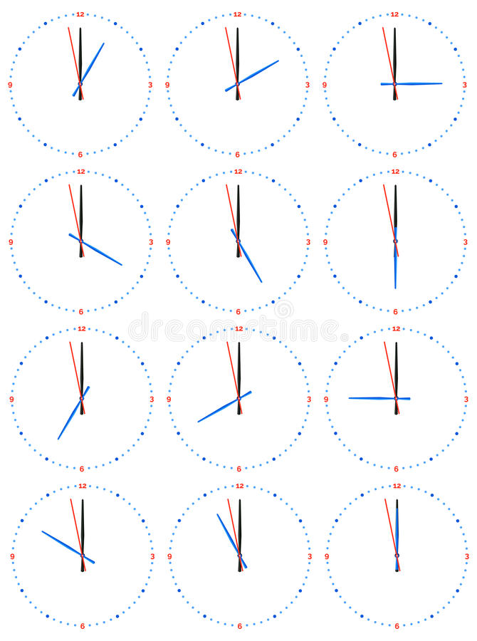 A set of mechanical clocks with an image of each of the twelve hours. Clock face on white background stock illustration