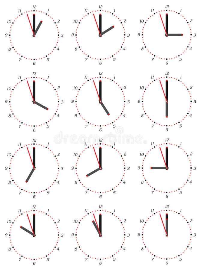 A set of mechanical clocks with an image of each of the twelve hours. Clock face on white background royalty free illustration