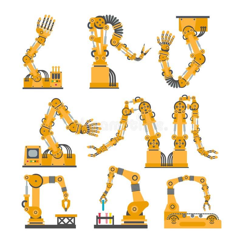Set mechaniczne ręki, ręki Wektorowe robot ikony ustawiać ilustracji