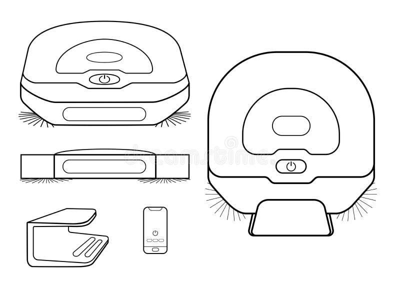 Set mechaniczni vacers uum czyści Próżniowi czyściciele w różnych projekcjach ilustracja wektor