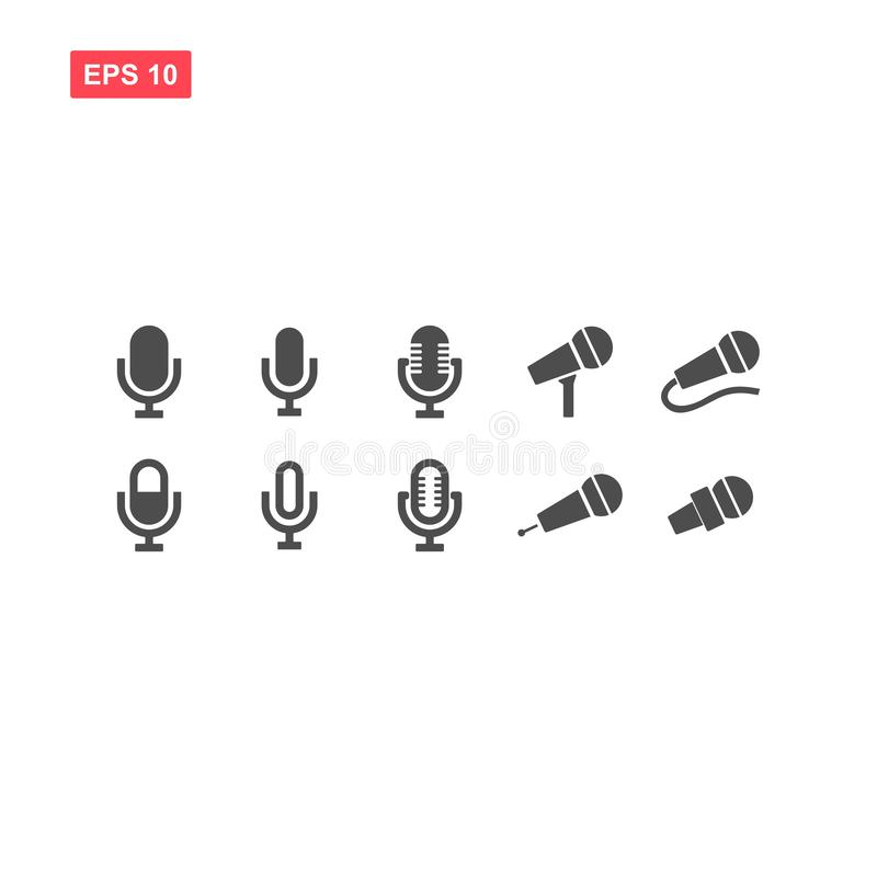 Set of mecrophone vector icon isolated vector illustration