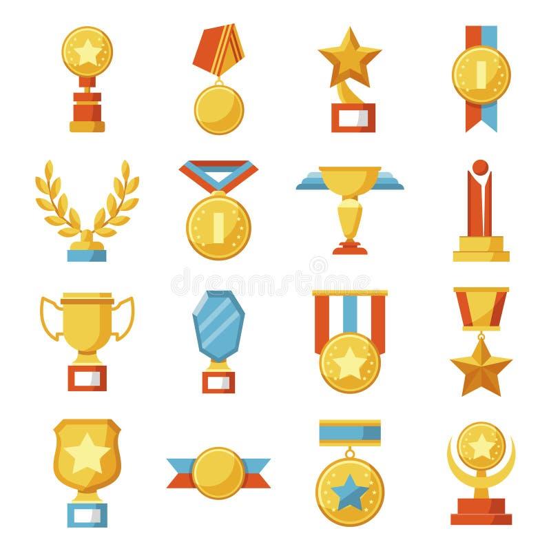Set medale i filiżanki, nagrody Złoci sportów trofea Wektorowa kolekcja ikony i symbole royalty ilustracja