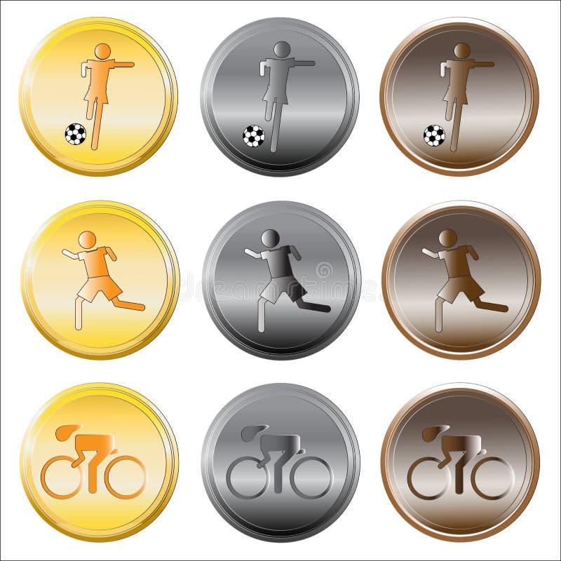 Set medale na bielu ilustracja wektor