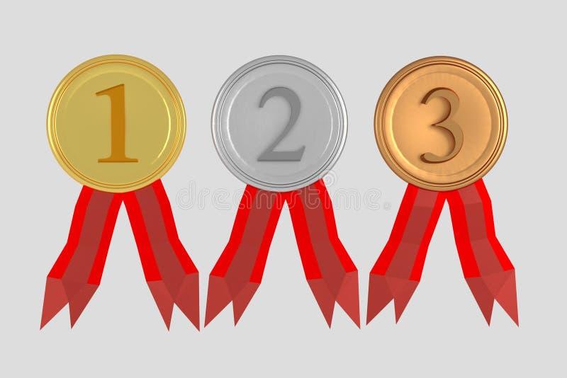 Set medale na bielu ilustracji
