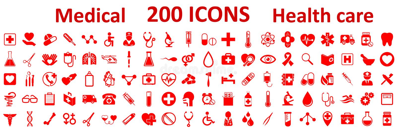 Set Medecine and Health flat icons. Collection health care medical icons royalty free illustration