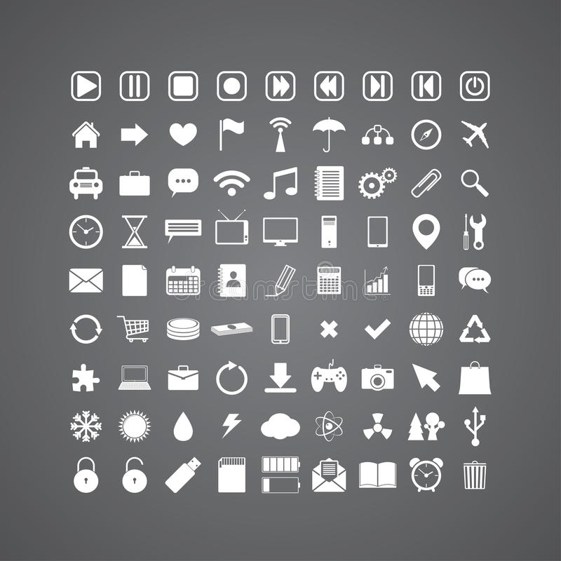 Set of media icons. Set of 81 different media icons. vector eps8 royalty free illustration