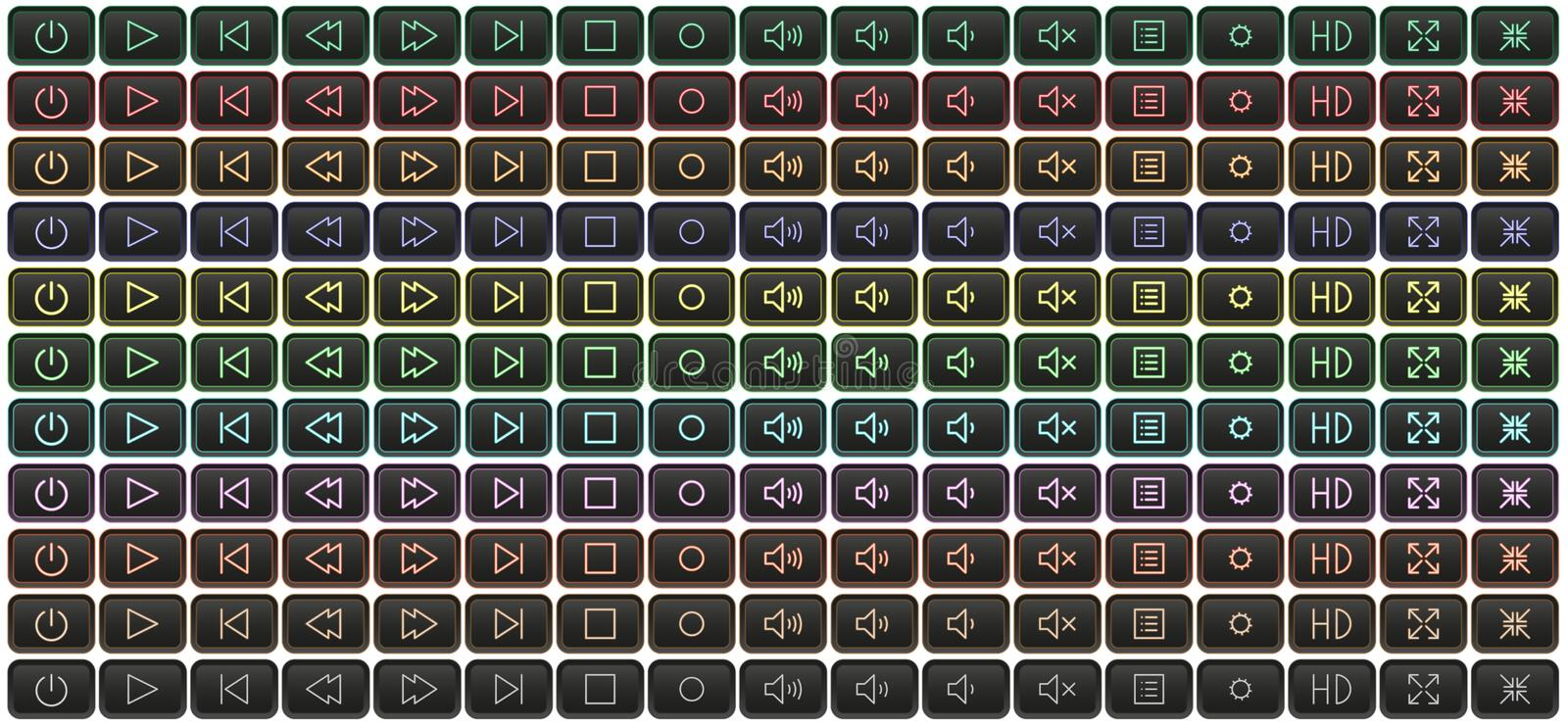 Neon media player buttons multicolored royalty free stock photography