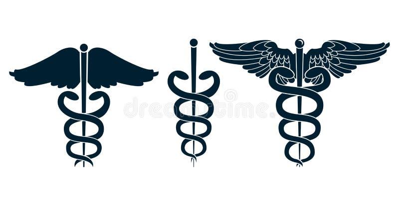 Download Set of medical caduceus stock vector. Image of black - 30373357