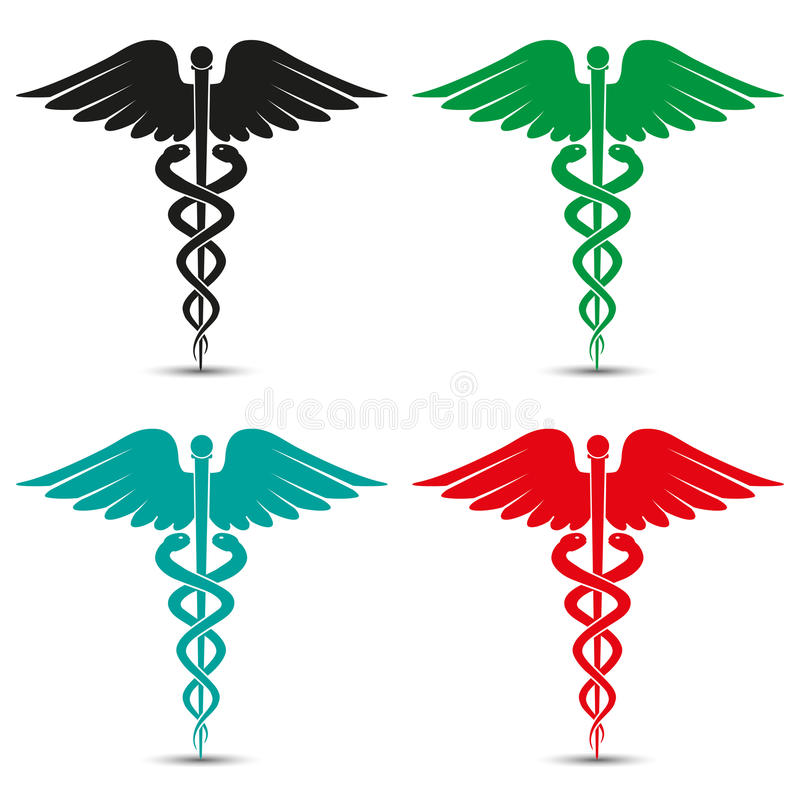 Set of medical caduceus symbol multicolored with shadow vector illustration