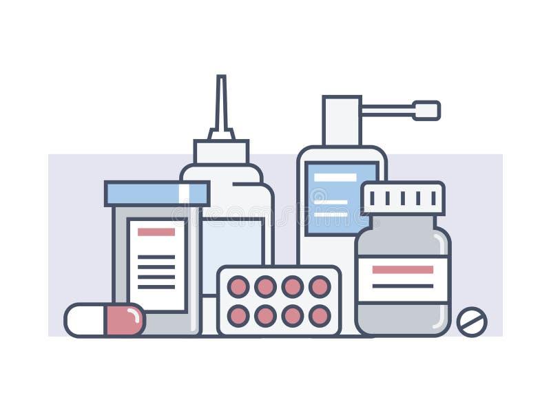 Set medical drugs vector illustration