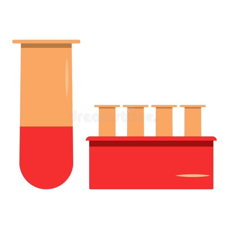 Set medical flasks for blood analysis and testing royalty free illustration