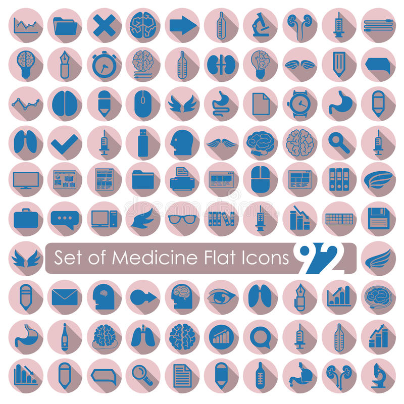 Set of medical flat icons vector illustration