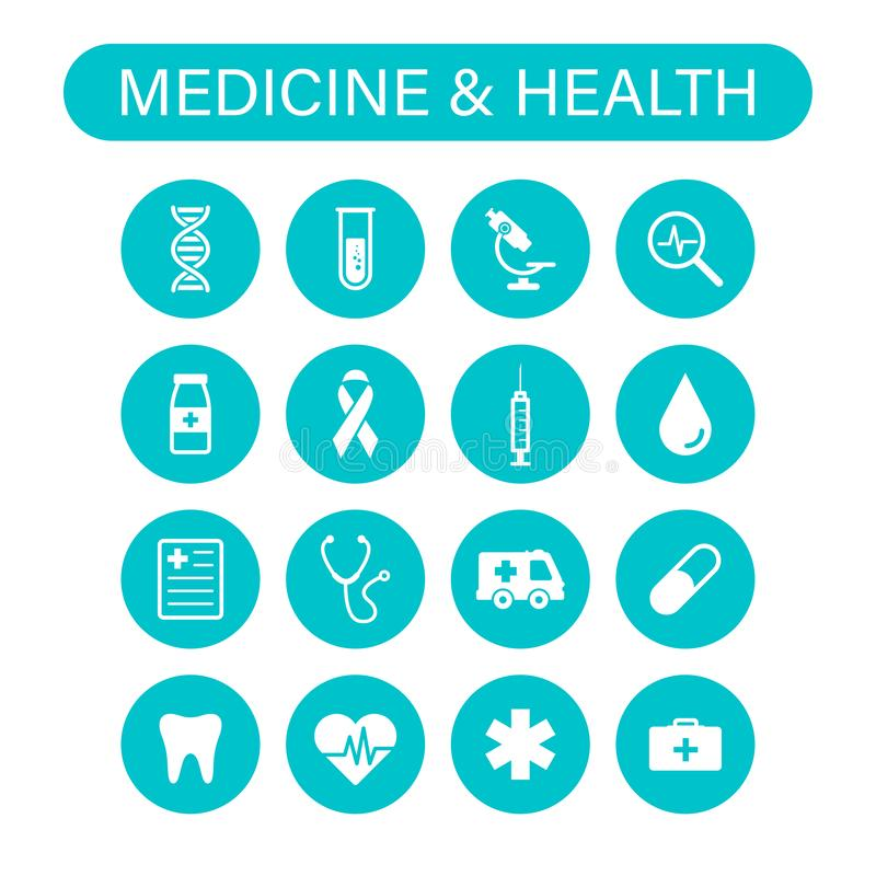 Set of 16 Medical and Health web icons in line style. Medicine and Health Care, RX, infographic. Vector illustration vector illustration
