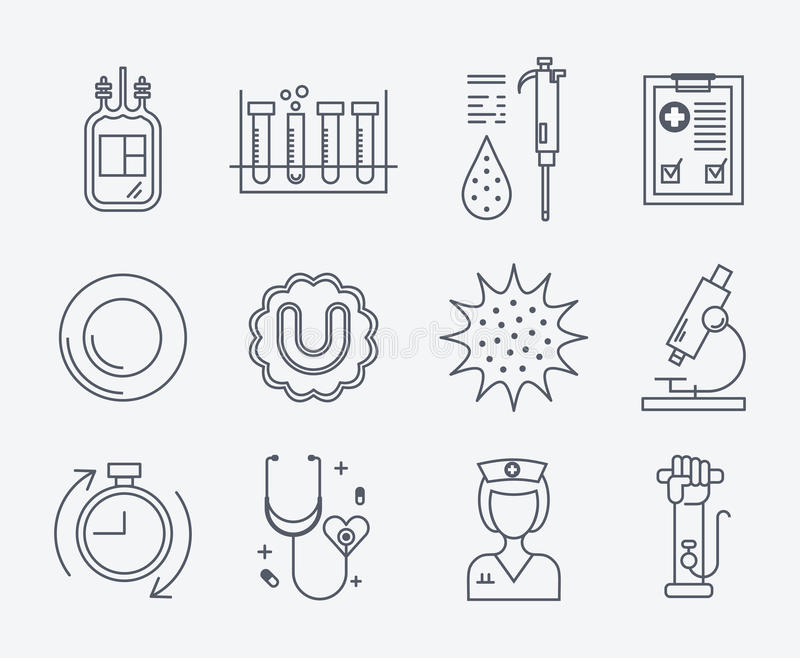Set of medical icons - blood donation. stock illustration