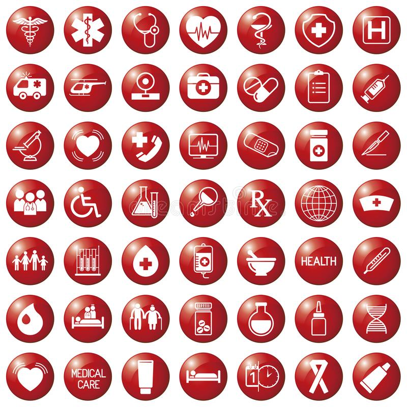 Set of medical icons on circular red colored buttons, , web design elements medicine vector illustration