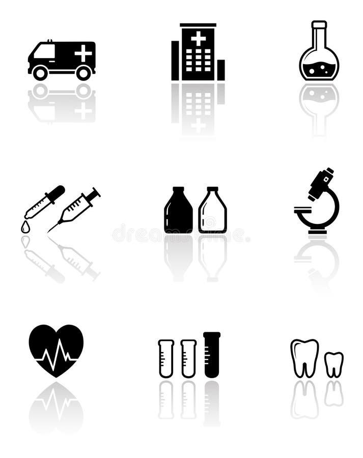 Set medical icons with reflection stock illustration