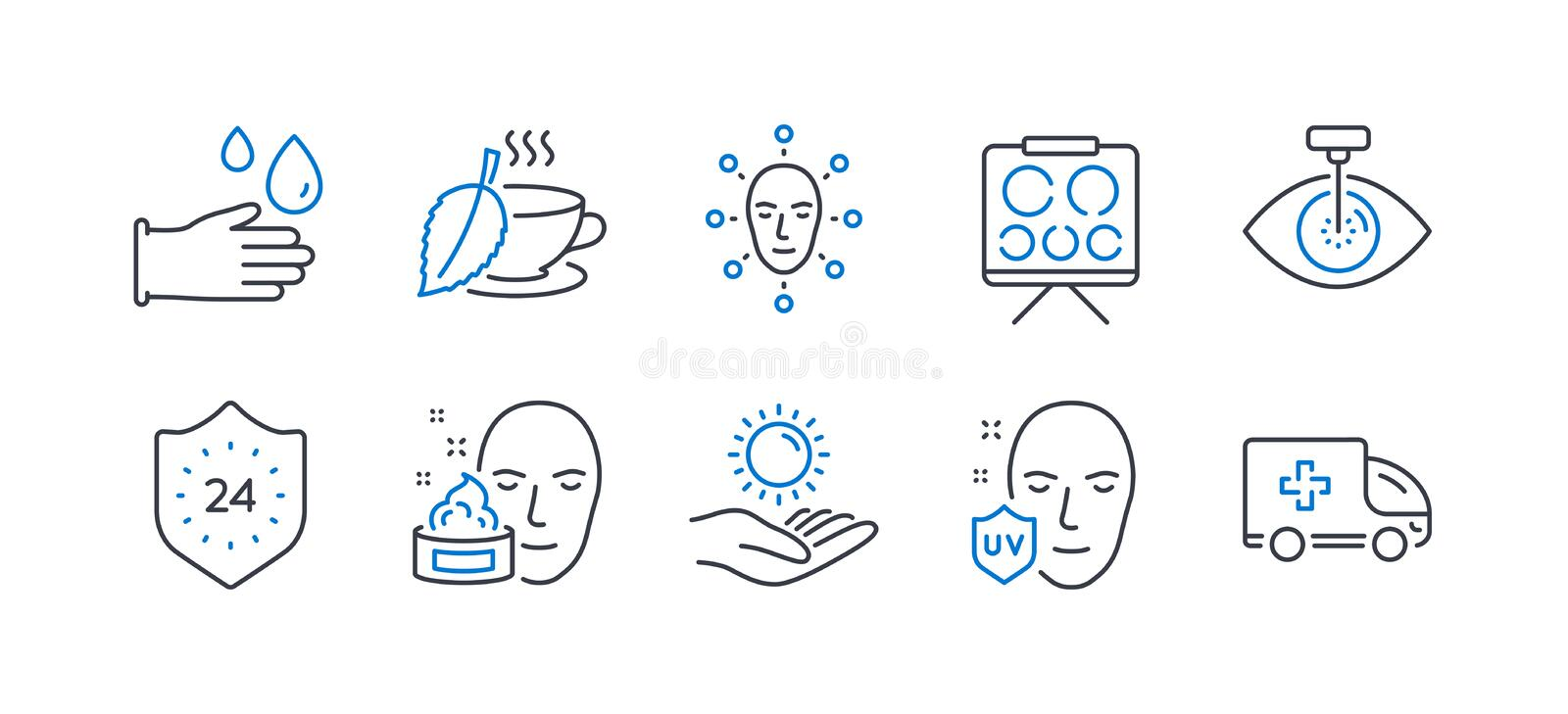 Set of Medical icons, such as Eye laser, Mint tea, Sun protection. Vector stock illustration