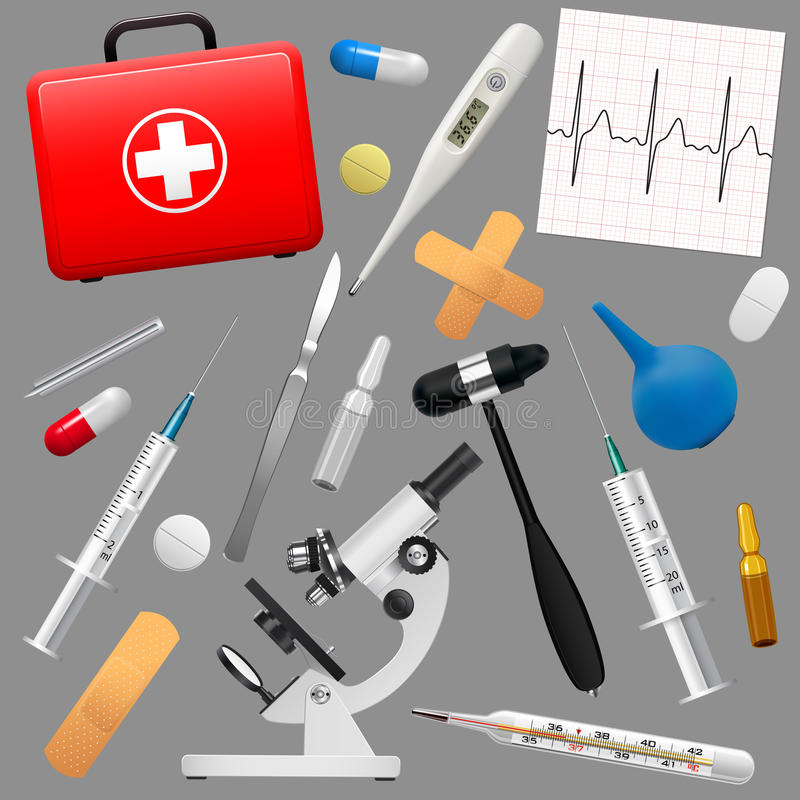 Set of medical instruments and preparations. First Aid Kit and its contents. Medicine and health. Vector vector illustration