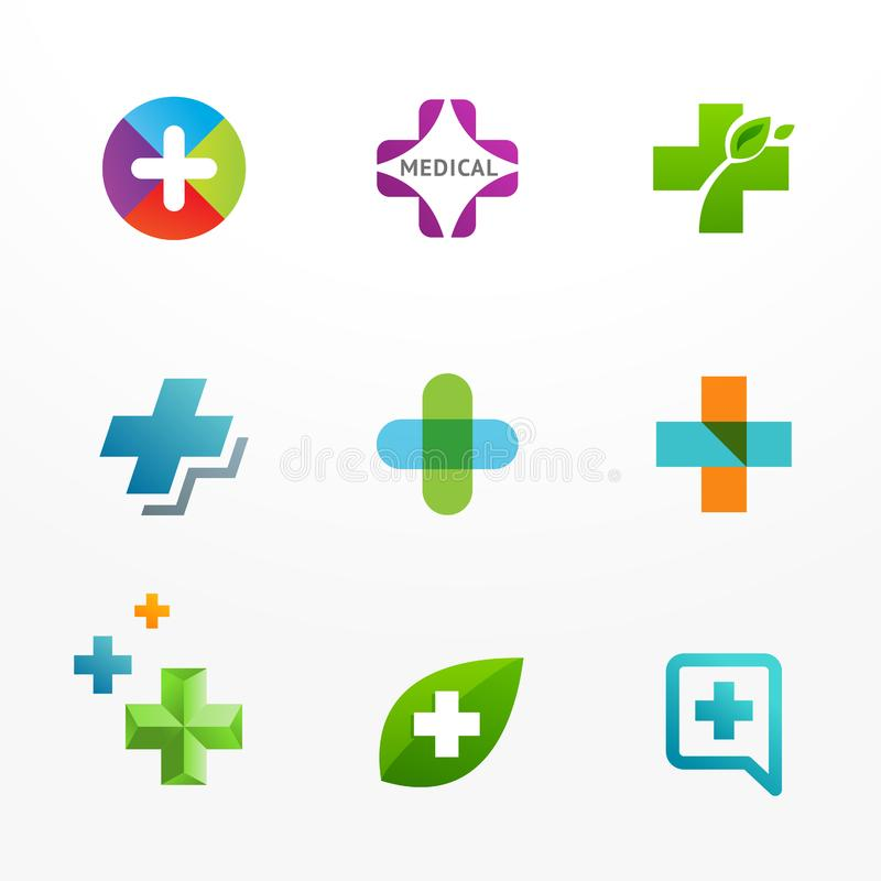 Set of medical logo icons with cross and plus royalty free illustration