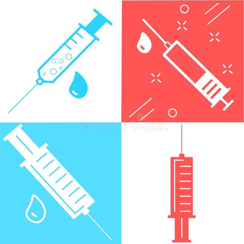 Set medical syringe, hypodermic needle, Inject needle concept of vaccination, injection. Trendy flat style. vector illustration. Set of medical syringe royalty free illustration