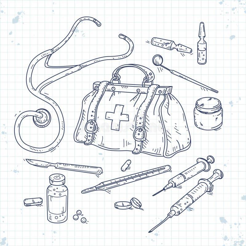 Set of medical tools, doctor bag. Vector illustration of set of medical tools, doctor bag, medicines, pills and syringes vector illustration