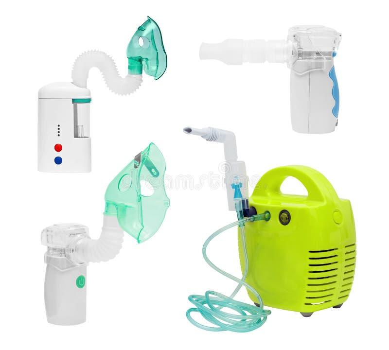 Set of medical ultrasonic, compressor and mesh inhaler, nebulizer. Nebuliser, nebular with mask and mouthpiece. Respiratory. Asthma breathing treatment royalty free stock photography