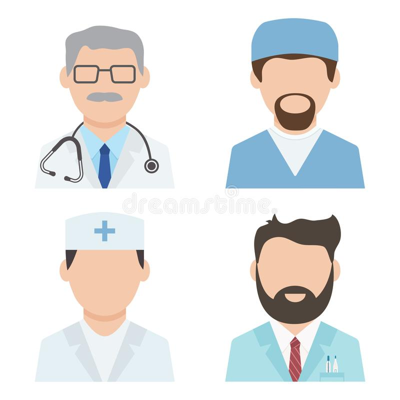 Set of medical workers, health professional avatars, medical staff, doctor icons. Vector. Illustration royalty free illustration