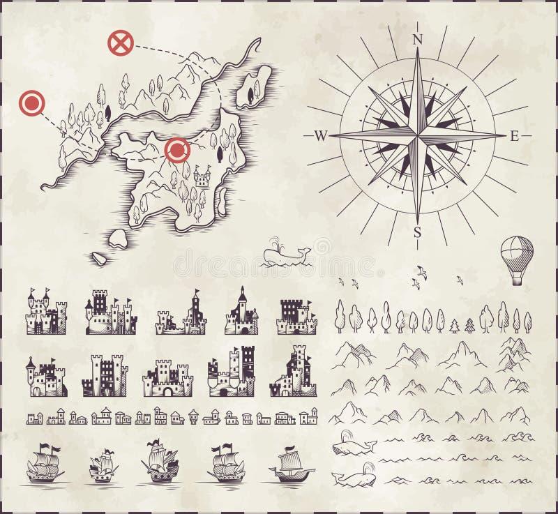 Set in medieval cartography. For design stock illustration