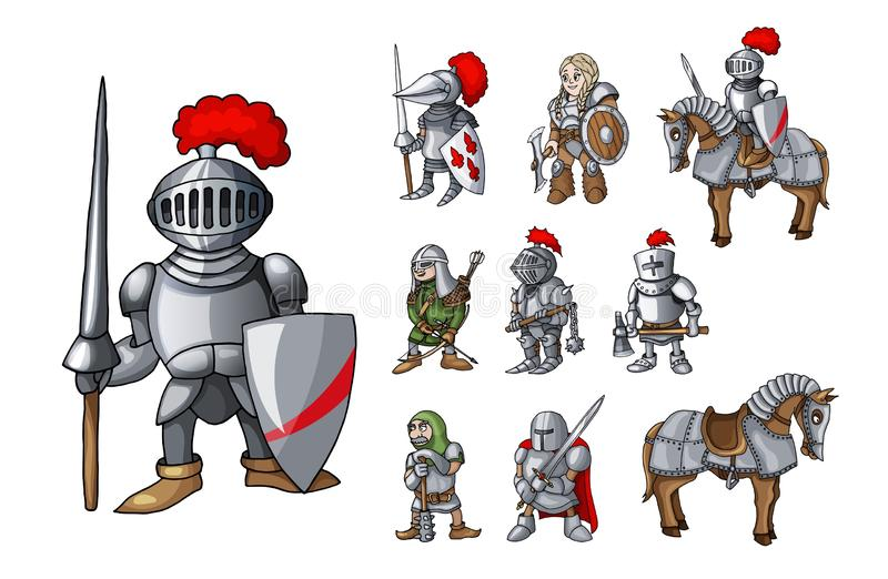 Set of medieval knight characters standing in different poses isolated on white vector illustration