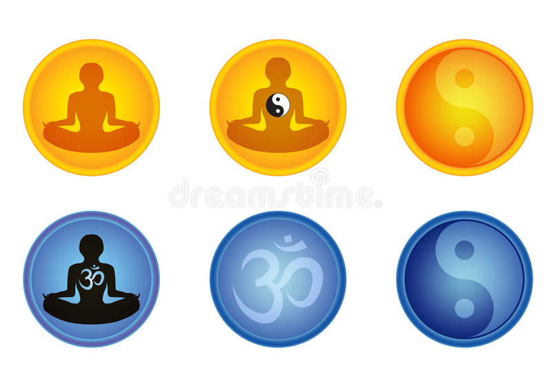 Download Set of meditation signs stock photo. Image of blue, person - 27233518