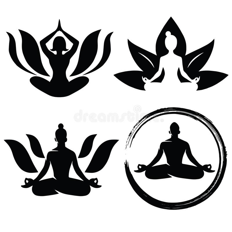 Set of Meditation Yoga Logo Design Vector vector illustration
