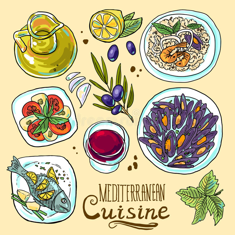 Set of mediterranean food. Hand-draw set of mediterranean food- salad, mussels, olive oil, red wine, fish, risotto stock illustration