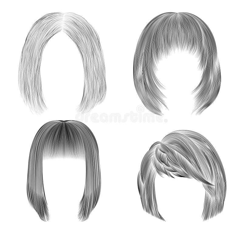 Set Medium woman hairs  . black  pencil drawing sketch . women fashion beauty style.  fringe cascade care royalty free stock photos